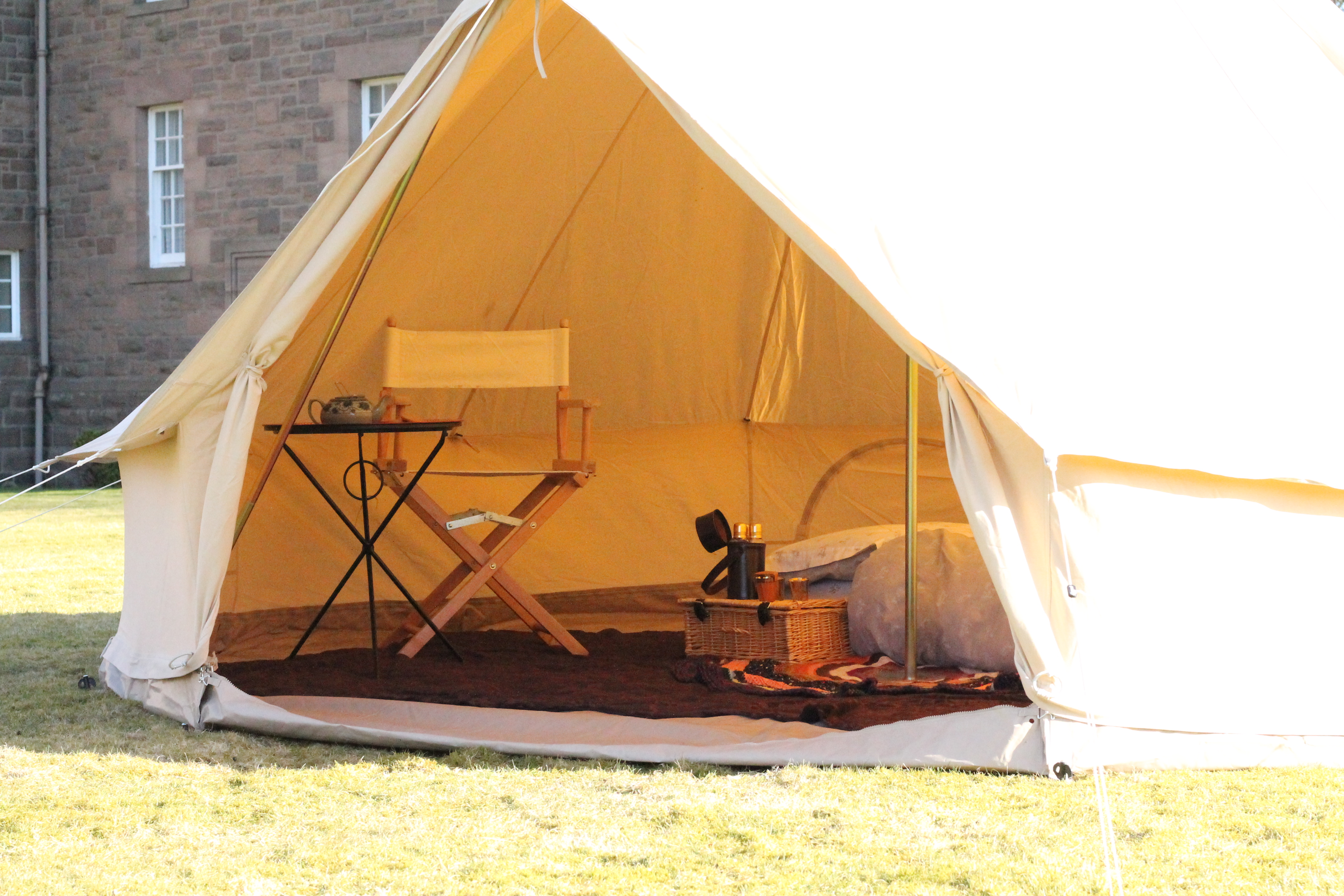 4 metre canvas bell tent set up with double bed table and chair.  sc 1 th 183 & Rowan Tree Tents | Bell Tent Hire in Scotland