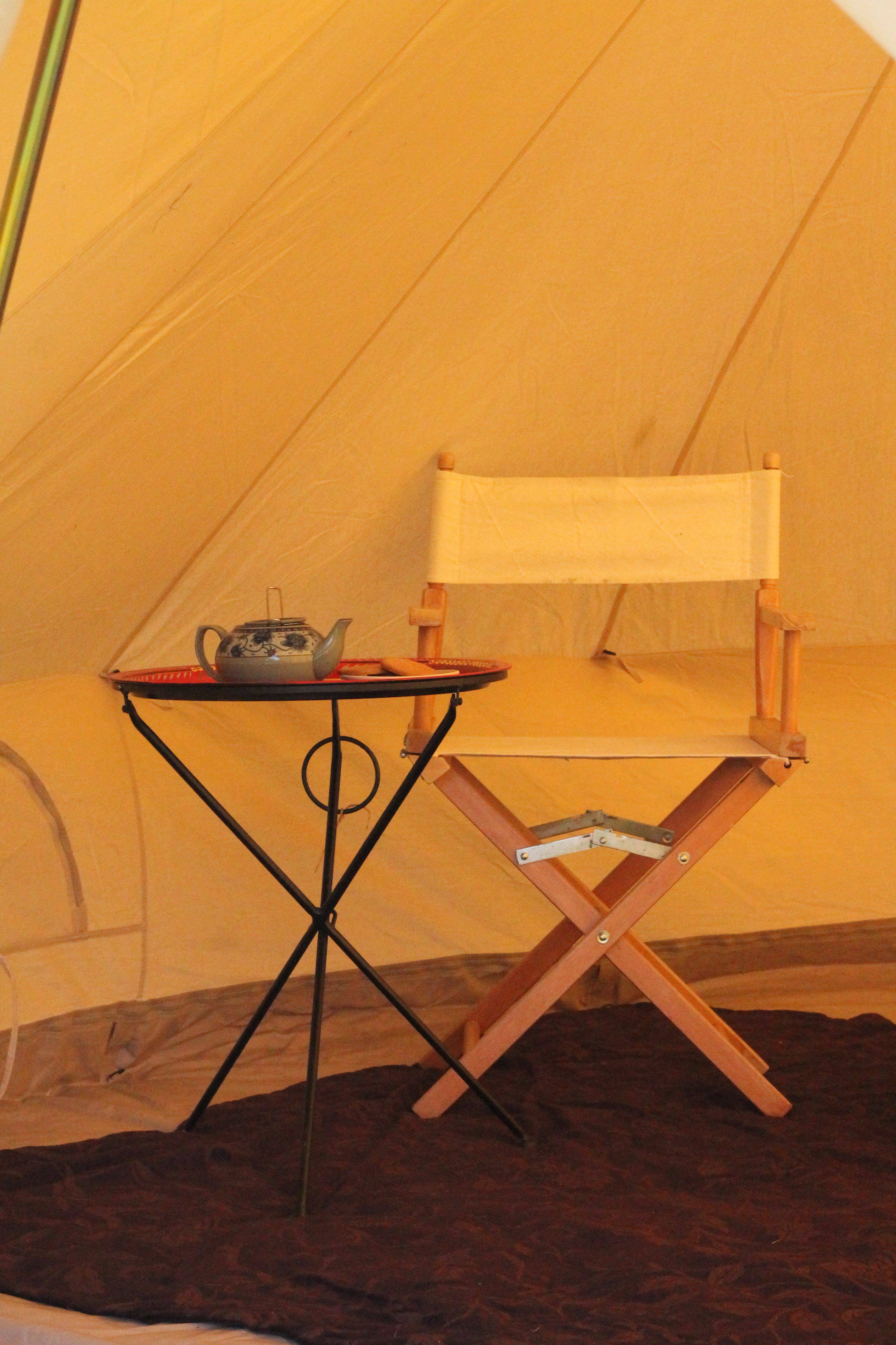 Strathcona Table and Chair & Rowan Tree Tents | Bell Tent Hire in Scotland